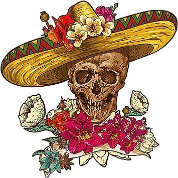 Pegatina de pared Calavera mexicana con sombrero Calcomanía de ...