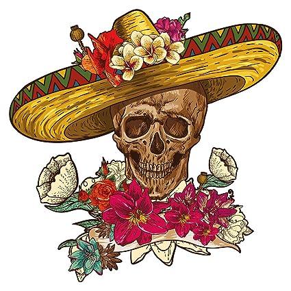 Pegatina De Pared Calavera Mexicana Con Sombrero Calcomanía De Pared