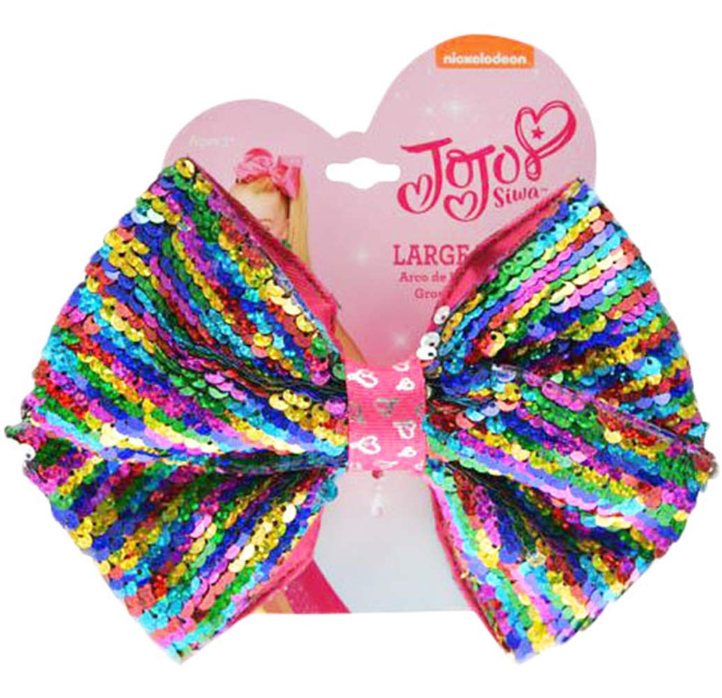 UPD JoJo Siwa Large Cheer Rainbow Hair Bow with Reversible Sequins On Elastic Ponytail Holder