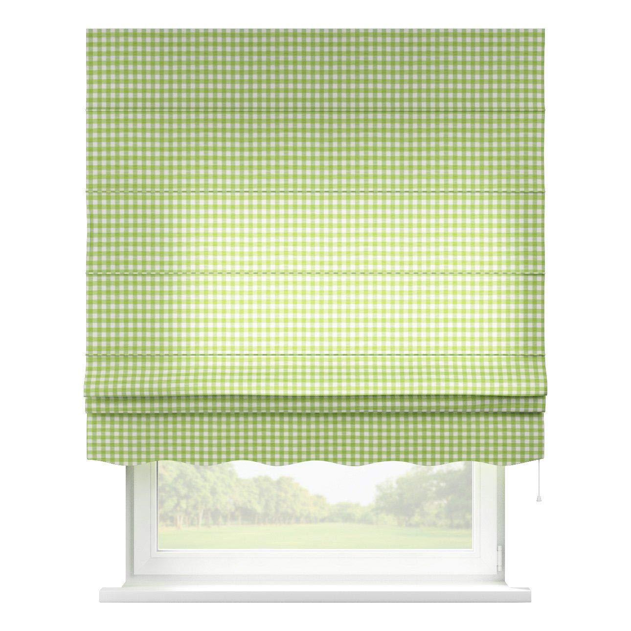 Dekoria Raffrollo Firenze ohne Bohren Blickdicht Faltvorhang Raffgardine Wohnzimmer Schlafzimmer Kinderzimmer 130 × 170 cm Weiss-grün kariert Raffrollos auf Maß maßanfertigung möglich