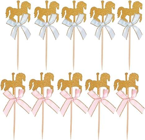 NUOBESTY 20 pz Topper Cupcake a Forma di Cavallo con Arco Torta Picks Stuzzicadenti Decorazioni per Compleanno Baby Shower Bambini