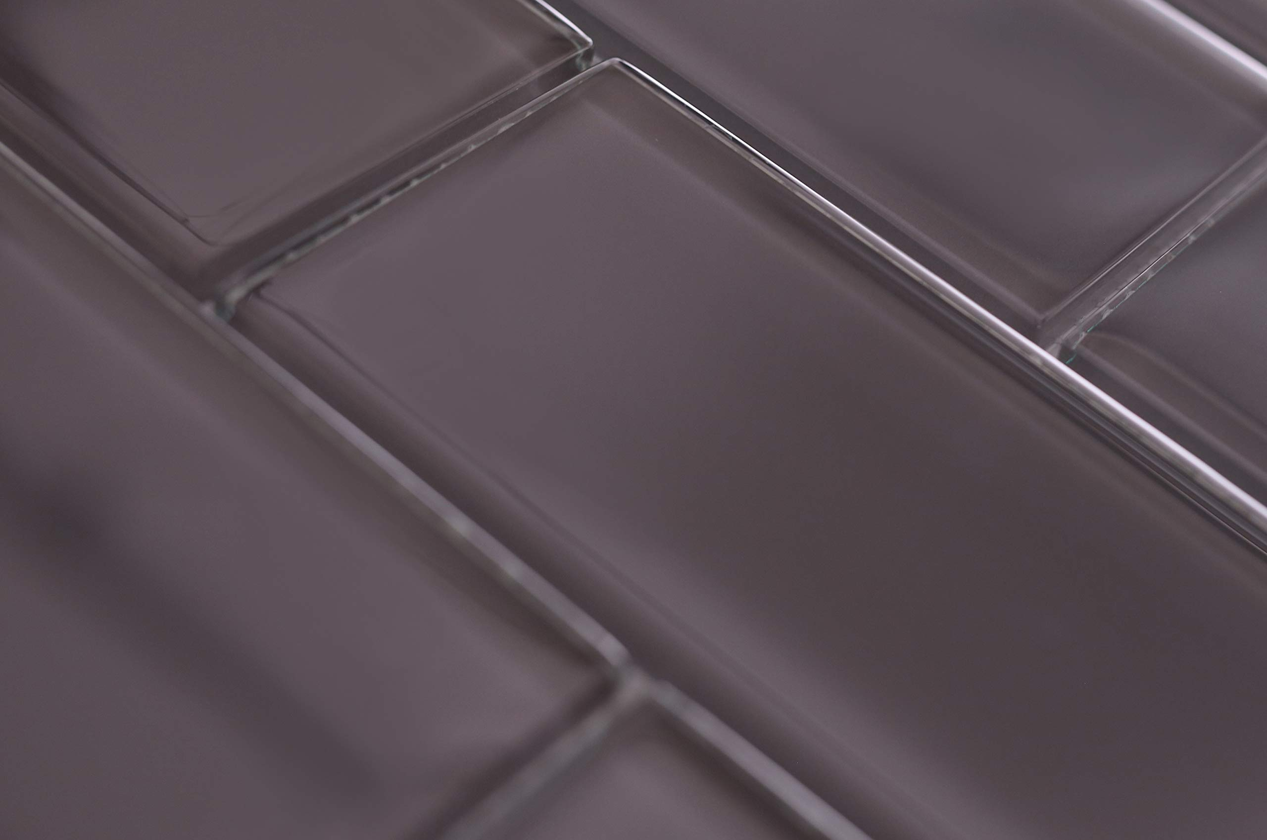 3'' x 6'' Subway Tyle Dark Gray Glass, Backsplash, Mesh-Mounted Tile for Kitchen & Bathroom - 12 in x 12 in x 8mm (5 Square Feet)