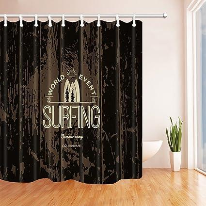 Rrfwq Surfing Decor - Tabla de surf sobre cortina de ducha de madera, resistente al