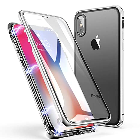competitive price dc363 4db26 REALCASE Luxury Auto-Fit Magnetic Adsorption Case 2-in-1 Metal Bumper Frame  with 9H Tempered Glass Only On Back Side Case Cover for iPhone X [iPhone ...