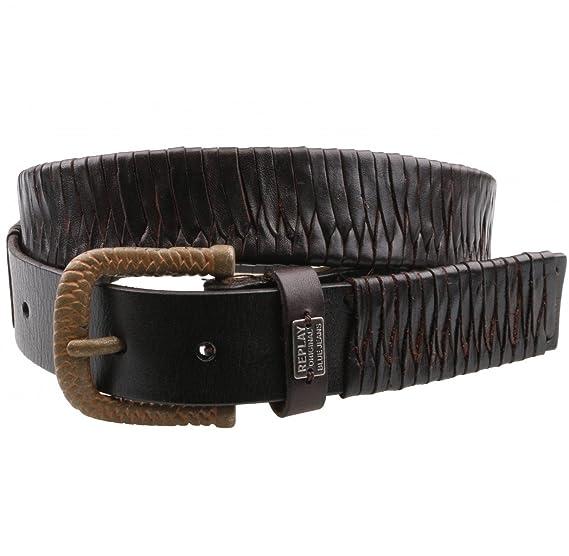 6d0d38ef05dc REPLAY le 2341 ceinture en cuir marron et noir - Marron - 85  Amazon ...