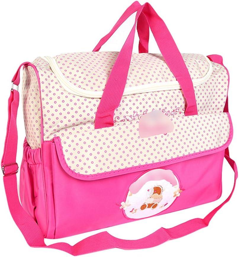 Jitong Mamás Bordado Bolso de Hombro para Viaje Hospital Gran Capacidad Bebé Bolsos Cambiadores de Pañales (Rosa, 38 * 18 * 30cm)