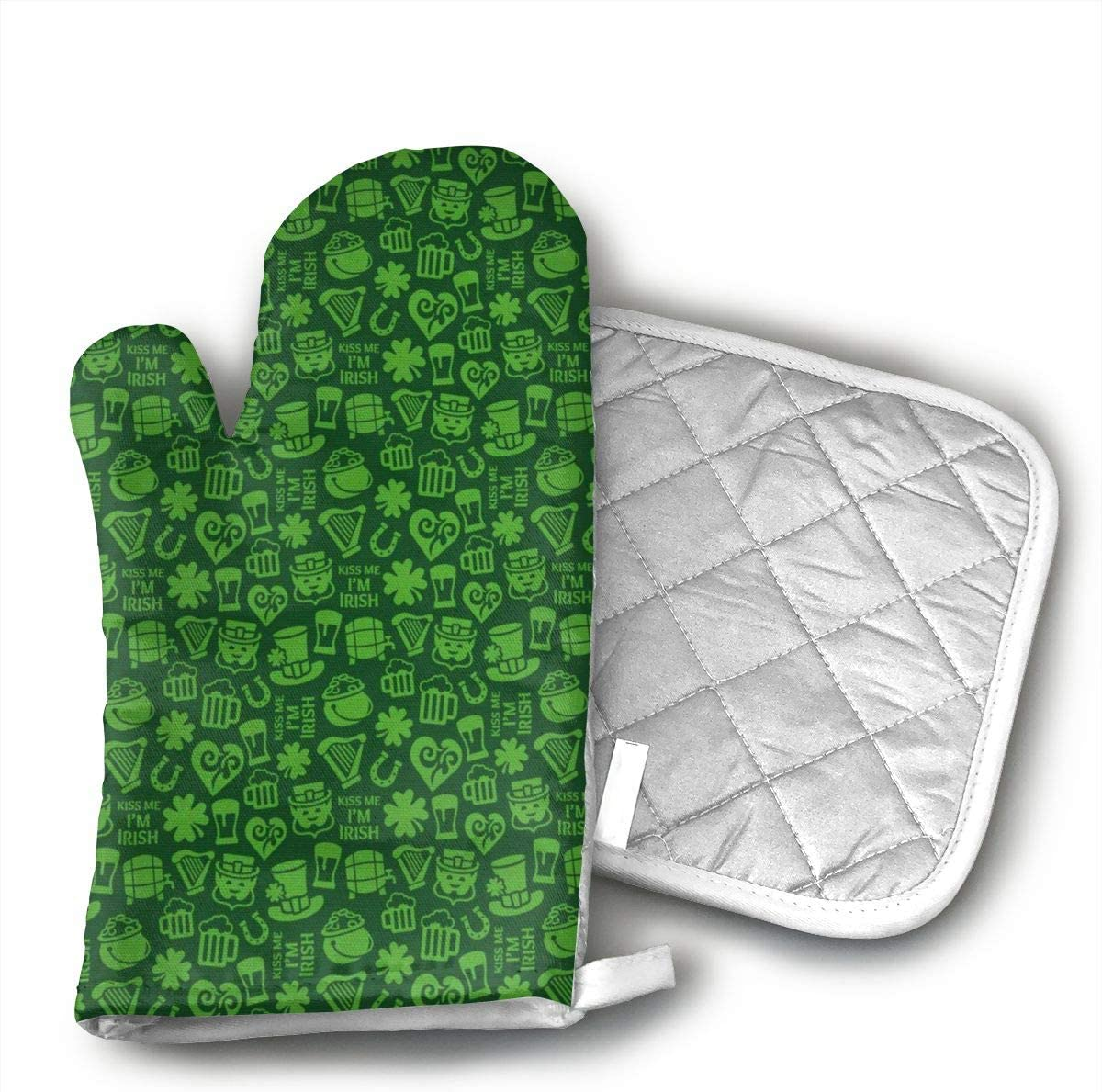 EROJfj Irish Shamrock Hat Oven Mitts and Potholders BBQ Gloves-Oven Mitts and Pot Holders Non-Slip Cooking Gloves for Cooking Baking Grilling