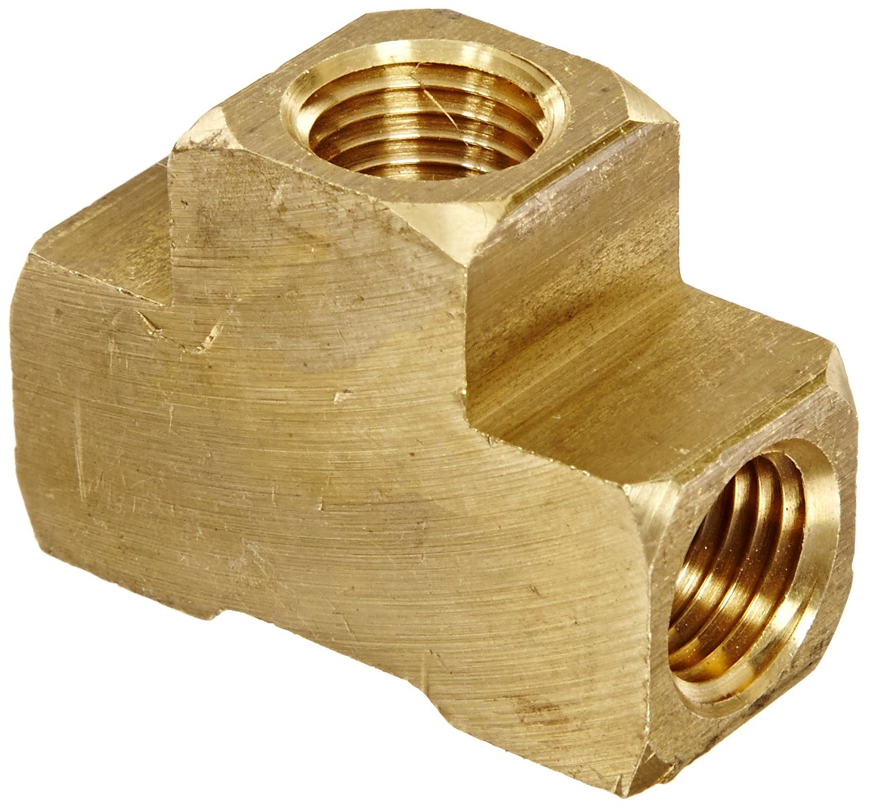 Anderson Metals 56101 Brass Pipe Fitting, Barstock Tee, 1/4'' x 1/4'' x 1/4'' NPT Female Pipe