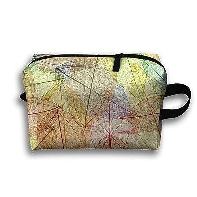 RONG FA Colorful Leaves Pattern Portable Travel Makeup Bag,Storage Bag Portable Ladies Travel Square Cosmetic Bag