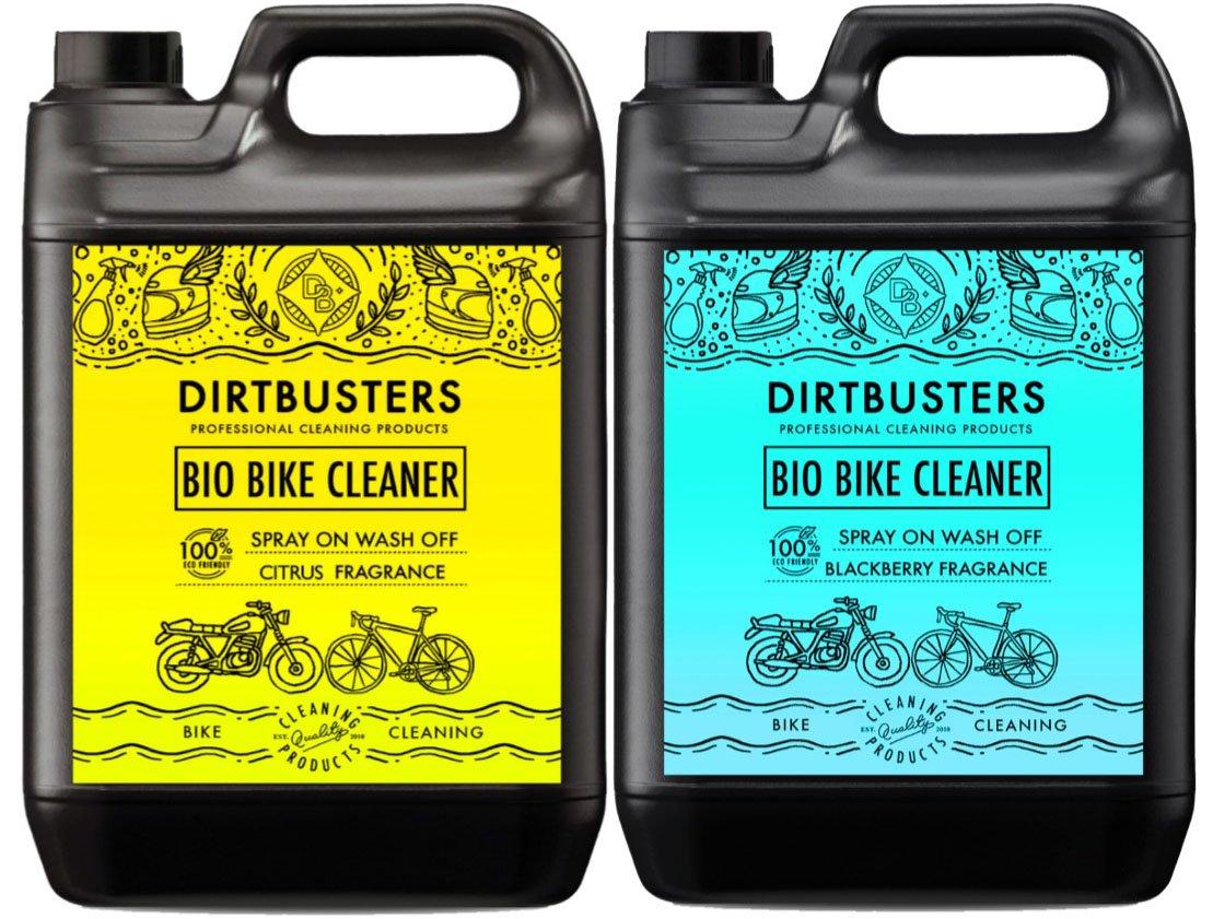 Dirtbusters Nettoyant bio pour v/élo ou moto avec microbes et enzymes mangeurs de boue Parfum m/ûre et agrumes 2 x 5/L pour une moto ou un v/élo respectueux de lenvironnement