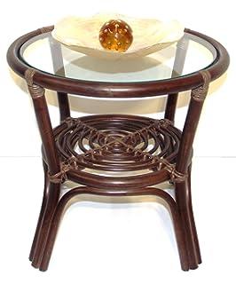 Round Coffee Table W/ Glass Top Natural Rattan Wicker ECO Handmade, Dark  Brown