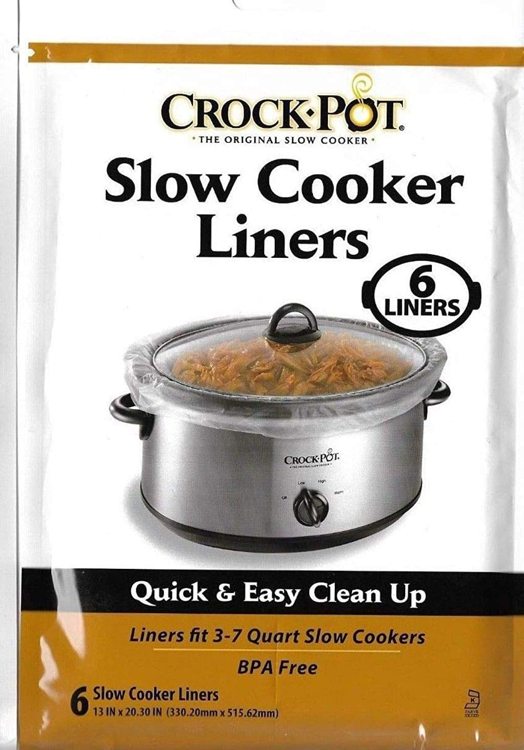 Crock Pot Slow Cooker Liners, 30 Liners fit 3-7 Quart (5 packs of 6 count)