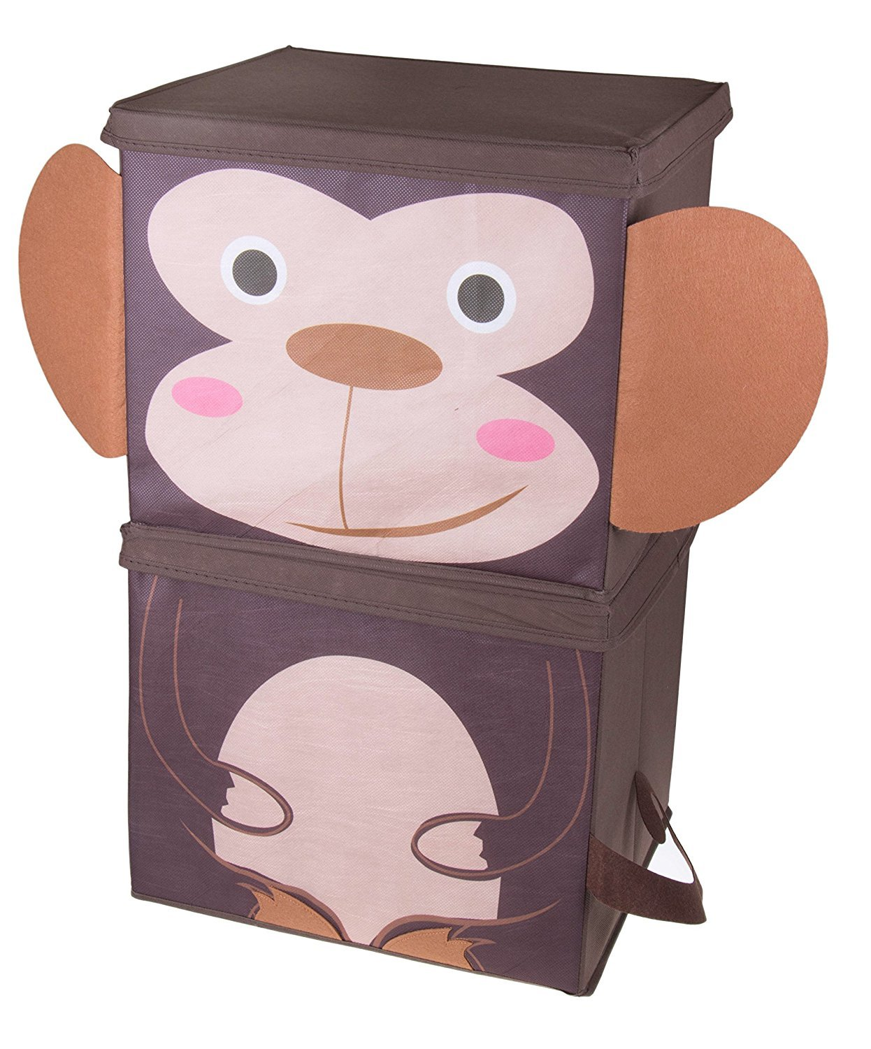 Cute Monkey Stackable Storage Organizer by Clever Creations   Collapsible Storage Box Any Room   Perfect Size Chest for Organizing Dog Toys, Clothes, Shoes and More!