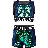 Choomomo Kids Girls Shiny Sequins Sleeveless Crop Top with Bottoms Set Street Dancing Jazz Hip Hop Ballroom Dancewear