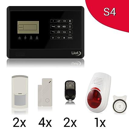 LKM Security S4 M2E - Kit de alarma antirrobo inalámbrica para casa, app gratuita para controlarla con e móvil, menú con síntesis de voz en italiano y ...