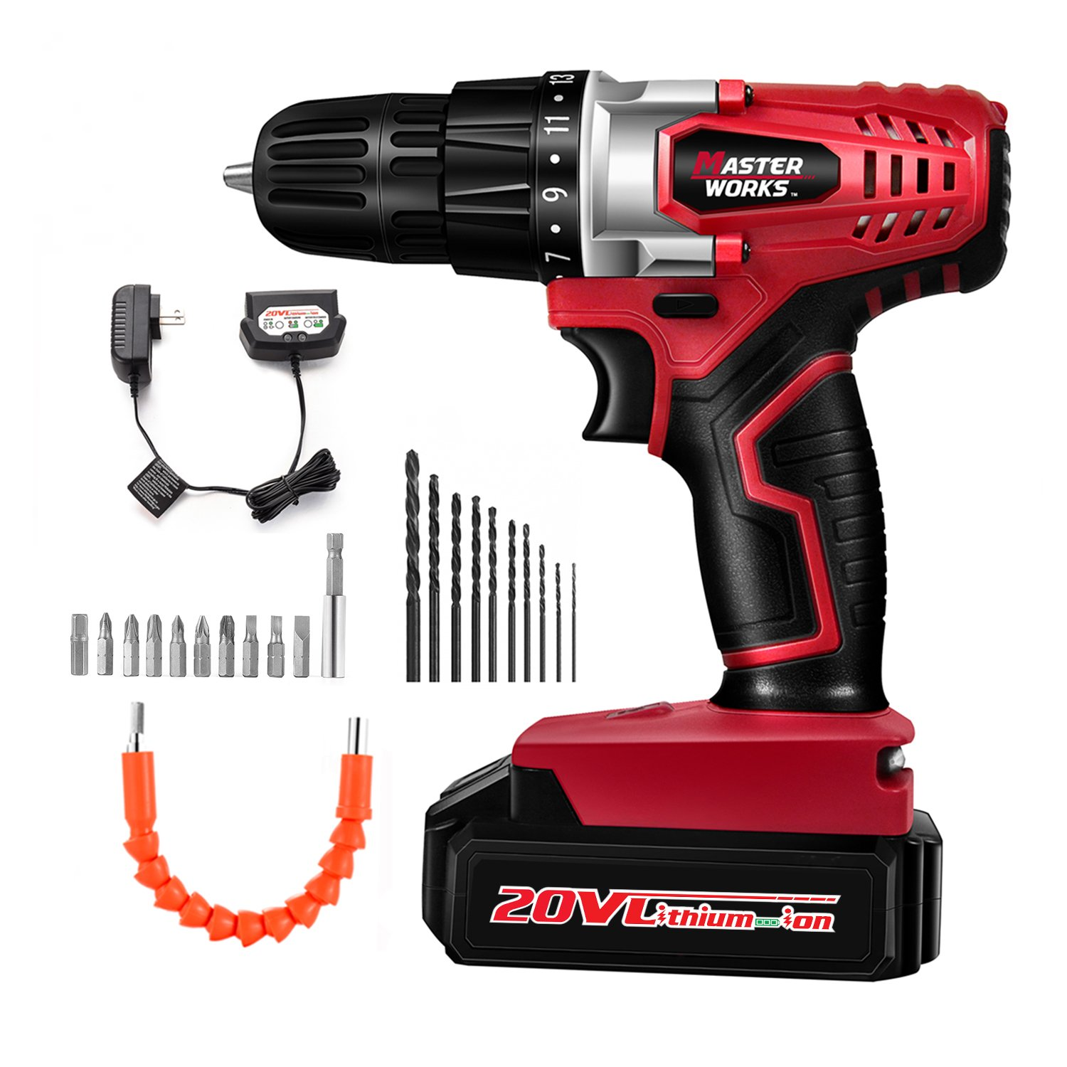 20V Cordless Drill, Power Drill Set with 3/8'' Keyless Chuck, Variable Speed, 16 Position with LED Light, 22pcs Drill/Driver Bits Included, Masterworks MW316