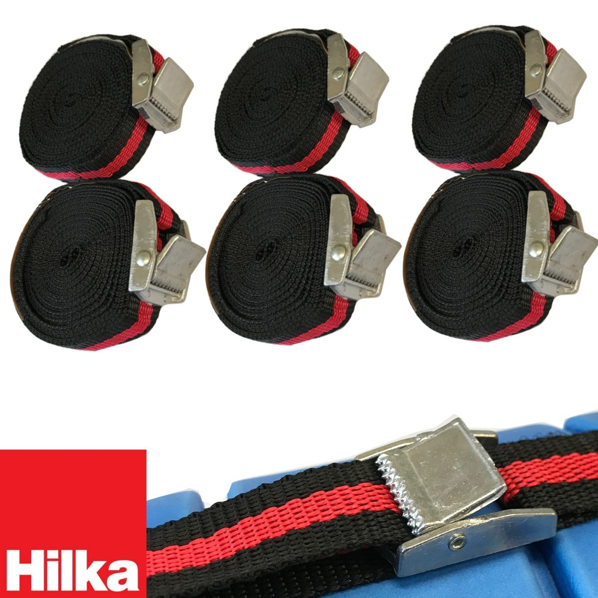 (PACK OF 6) Hilka Tie Down Luggage Straps Cam Buckle Style Straps