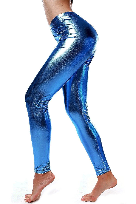 60052ffe68ddd DIAMONDKIT Women Faux Leather Leggings Wet Look Metallic Waist Legging  Pants Trousers at Amazon Women's Clothing store:
