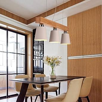 Modern Deckenlampe Pendelleuchte Drei Kopfe Holz Led Kronleuchter