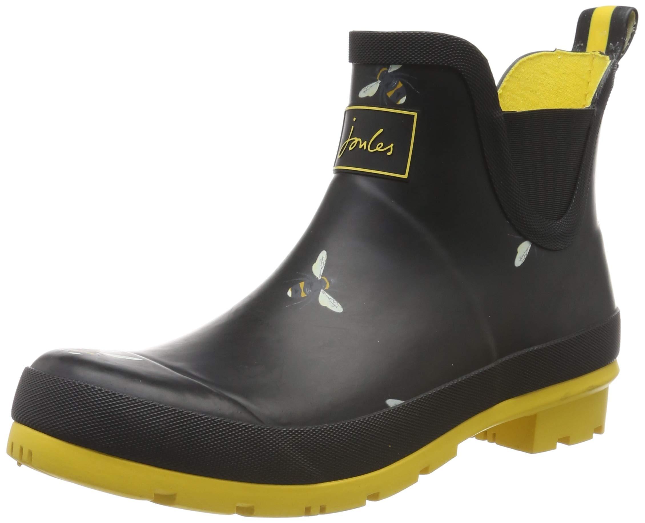 Joules Women's Wellibob Rain Boot (6 M US, Black Botanical Bees)