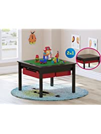 UTEX 2 In 1 Kids Construction Play Table Storage Drawers Built Plate Espresso