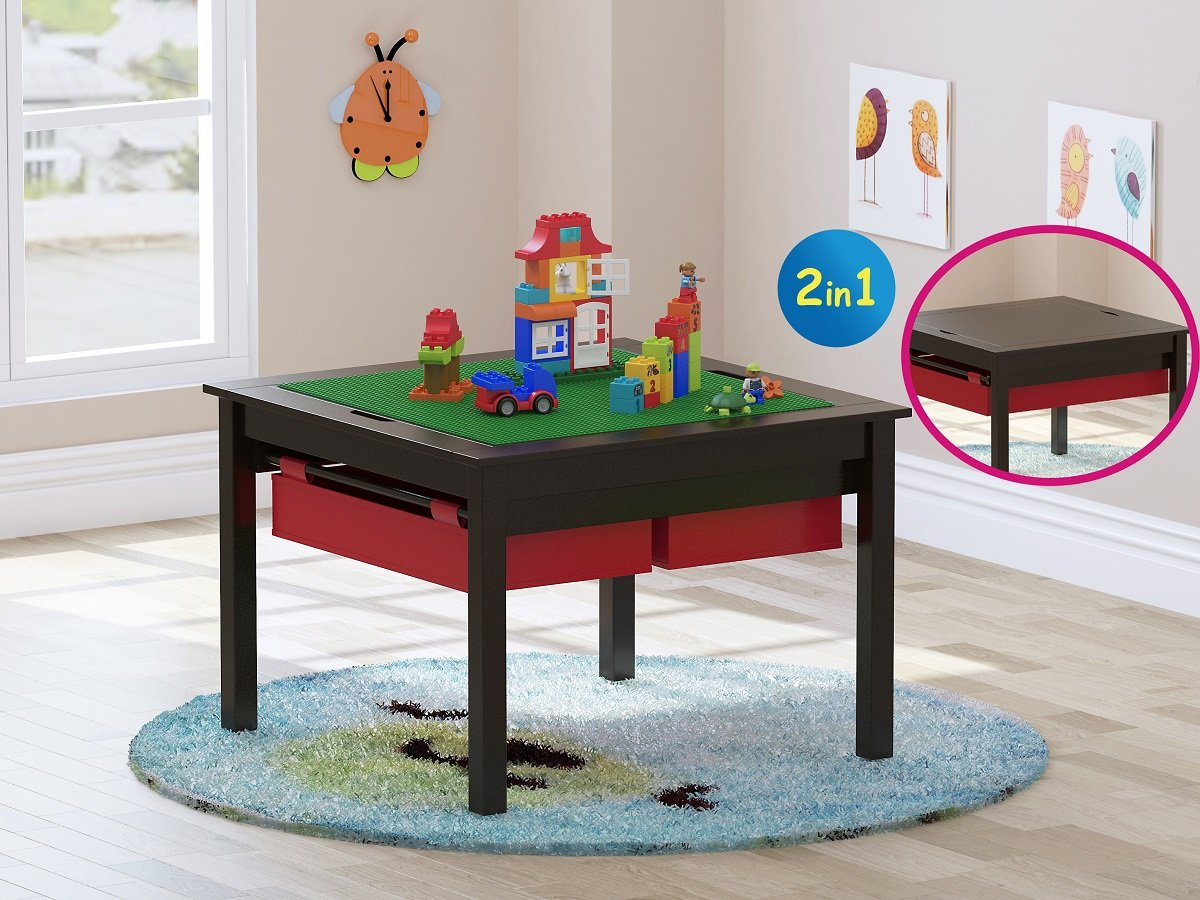 UTEX 2 In 1 Kids Construction Play Table Storage Drawers Built In Plate (Espresso) by UTEX