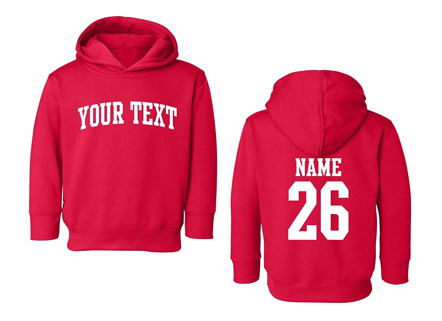 Back Name /& Number Toddler Hooded Sweatshirt Custom Personalized Arched Text