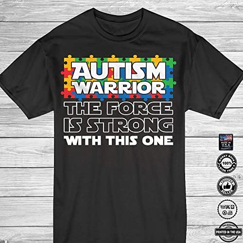 83bf0dc0e3b612 Amazon.com  Autism Warrior The Force Is Strong With This One Autism  Awareness Customized Handmade T-Shirt Hoodie Long Sleeve Tank  Top Sweatshirt  Handmade