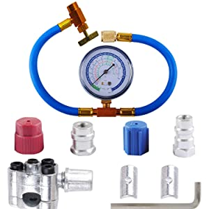 R134a Charging Hose to Refrigerator - with Gauge - R-134a can to R-12/R-22 Port, Include R12 to R134a Conversion Kit for A/C Pro Refrigerant & BPV31 Piercing Valve