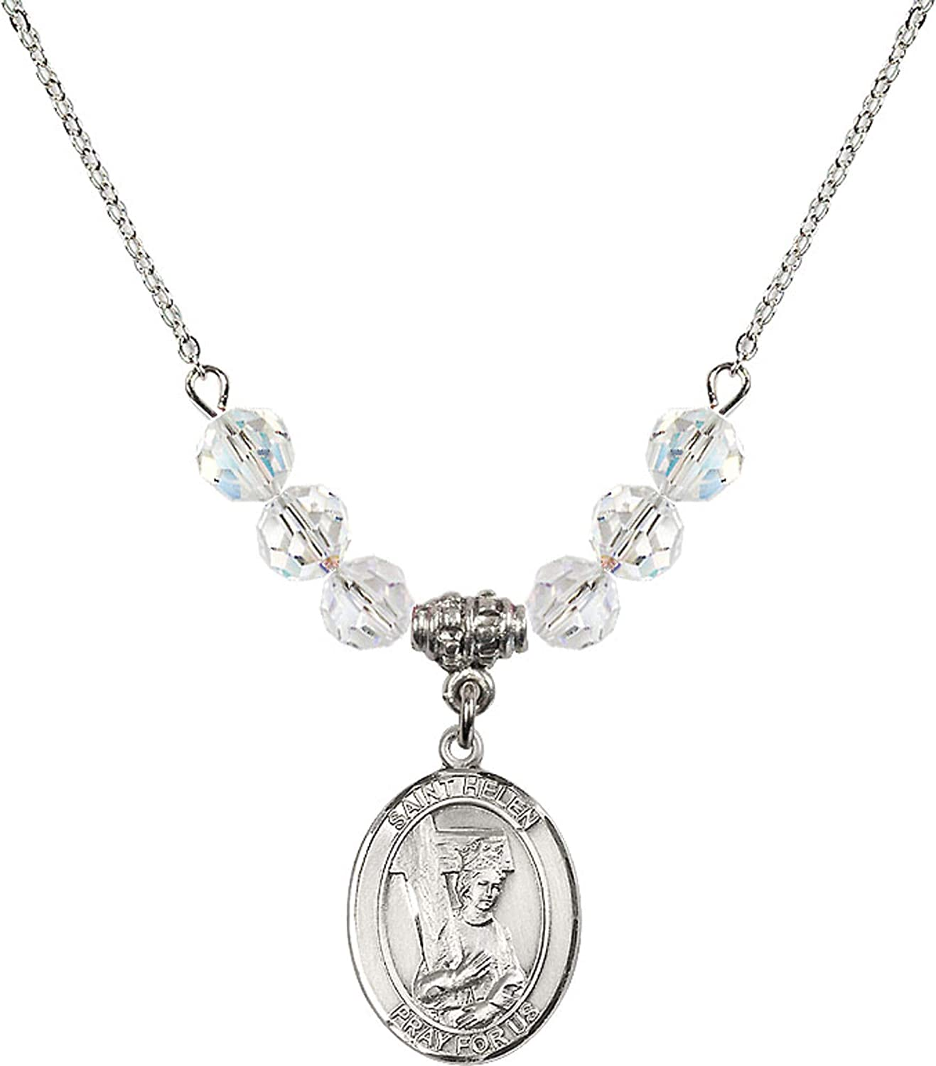 Bonyak Jewelry 18 Inch Rhodium Plated Necklace w// 6mm White April Birth Month Stone Beads and Saint Helen Charm