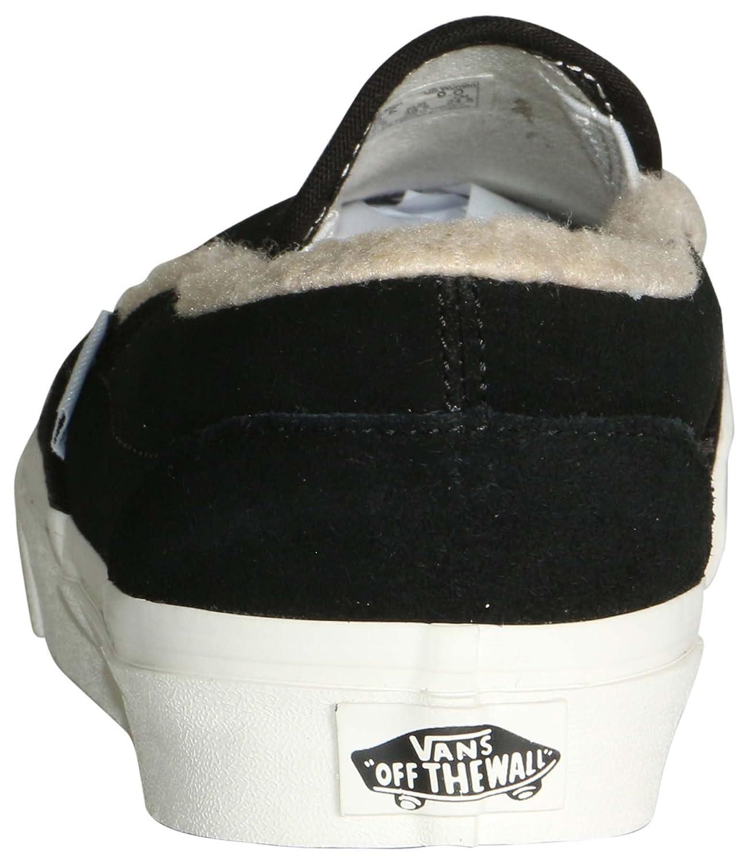 Vans Men's Classic Slip On (Suede & Suiting) Skateboarding Shoes B07C588Z1G 8.5-Women/7-Men Medium (D, M) US|Black/True White