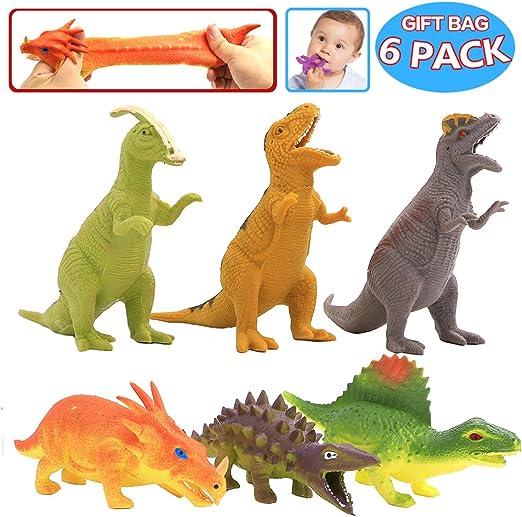 Dinosaurio de Goma de 8 pulgadas ( 6 Paguetes), con Bolsa