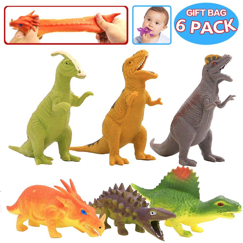Spielzeuge in Form von Dinosauriern, Gummi-Dinosaurier-Set 8 inch (6 Packungen), lebensmittelgeeignetes Material TPR, super dehnbar, mit geschenkter Tasche und Lernkasten, Tierwelt, lebensechte Dinosaurierfiguren, Spielzeuge für Jungs und Kinder, Partyzub
