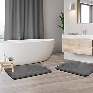"Clara Clark Memory Foam Bath Mat Set of 2 - Non Slip, Absorbent, Soft Bath Rug Set - Fast Drying Washable Bath Mat - Black - Small Size 17"" x 24"""