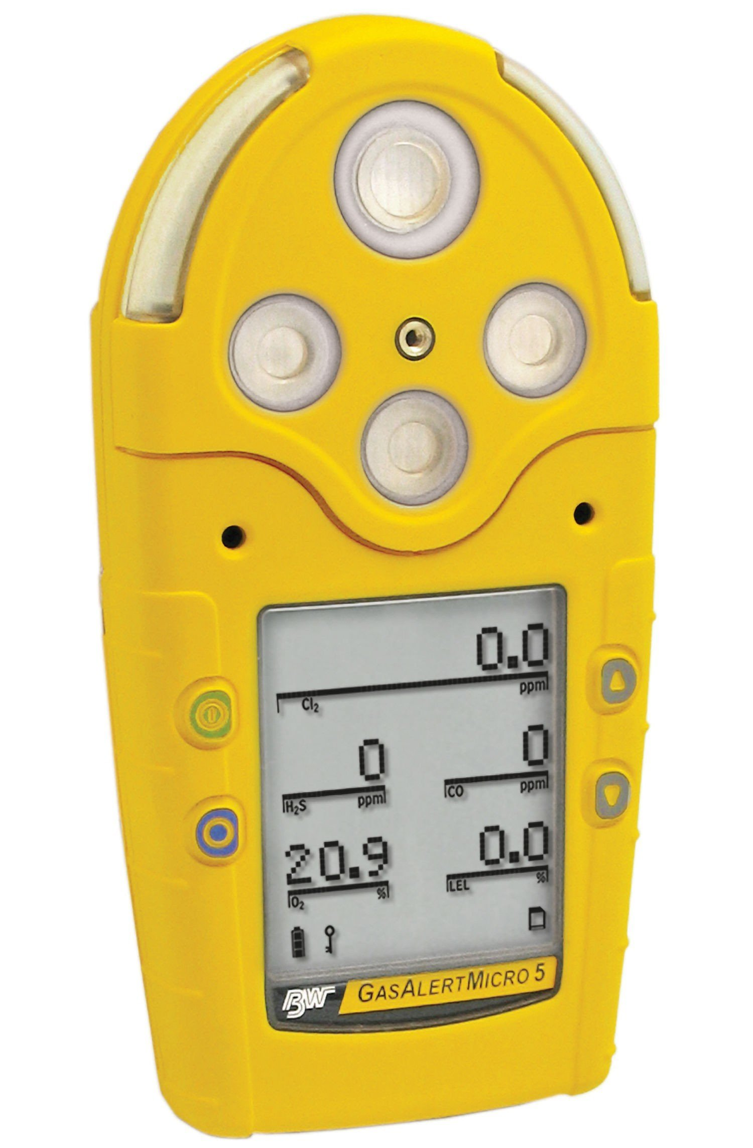 BW Technologies M5-XWAY-R-P-D-Y-N-00 GasAlertMicro 5 Gas Detector with Lithium Polymer Battery and Pump, Combustible, O2, H2S, CO, NH3, Yellow Housing