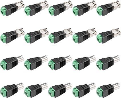 sourcing map 10 Pcs BNC M/âle vers RCA Femelle Jack connecteur Adaptateur Vid/éo C/âble Coaxial