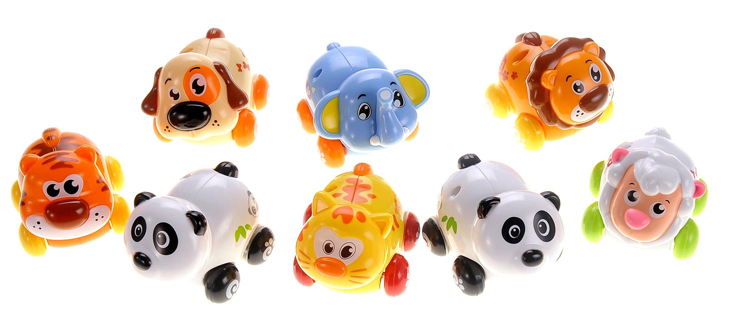PowerTRC Cartoon Animals Friction Push and Go Toy Cars Play Set (Set of 8) Panda, Cat, Elephant, Dog, Lion, Tiger and Sheep