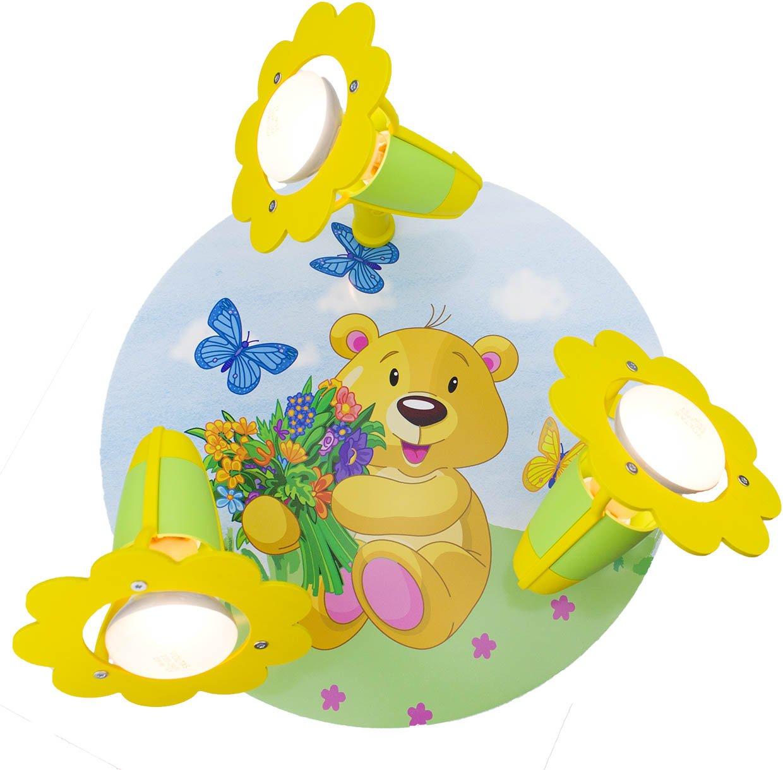 Elobra Kinder Lampe Rondell Teddy Bär Deckenleuchte Kinderzimmer Holz, grün/gelb 131251 [Energieklasse A++] grün/gelb 131251