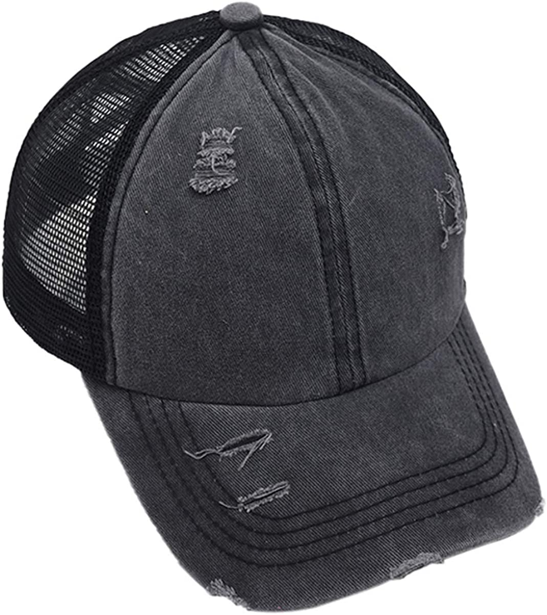 Leotruny Women Washed Cotton High Ponytail Baseball Cap Criss Cross Hat
