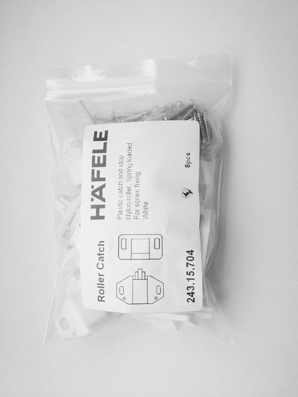 HAFELE Plástico Pestillo Rodillo Cierres para Puerta de Armario Cocina Casa y Muebles Baño Cerradura de Captura de Puertas Marca de Alemania en Blanco (8 ...