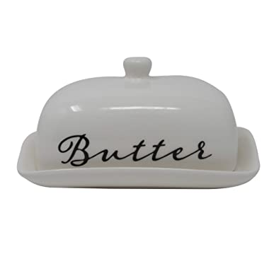 Porcelaine Butter Dish With Lid For East West Butter Great For Kitchen Storage & Decor or Gift Idea by Ashes To Beauty (White)