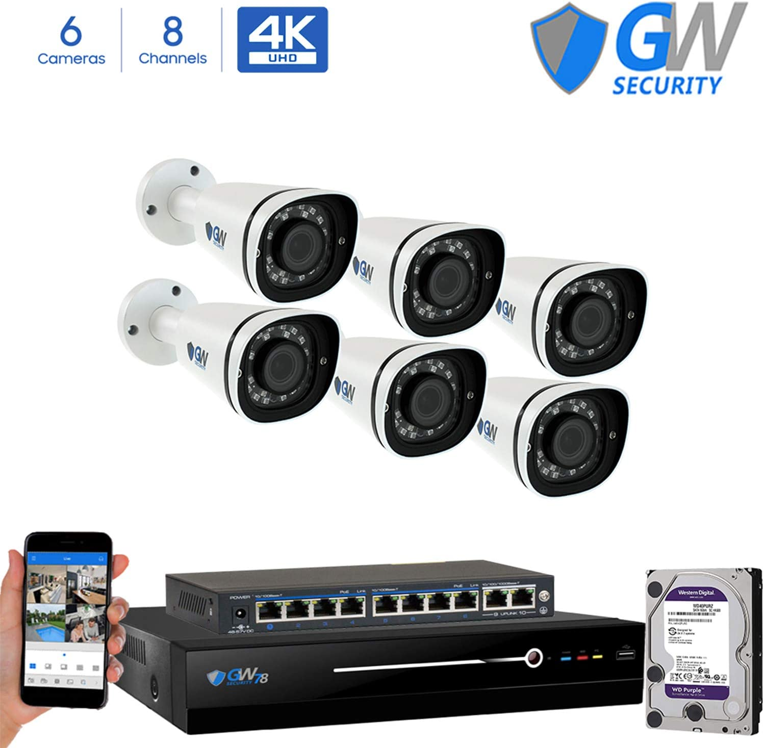 GW 8 Channel 8MP UltraHD 4K 3840×2160 Audio Video Motorized Zoom Home NVR Security System – 6 x Bullet 8 Megapixel 2.8-8mm 3X Optical Zoom Waterproof IP PoE Cameras Built-in Microphone