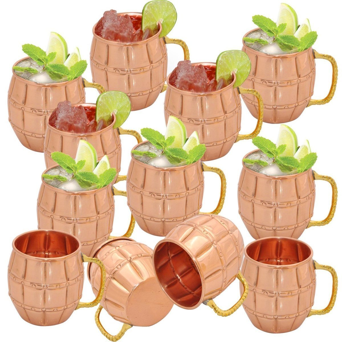 Panchal Creation 18 Oz Barrel Pure Copper Mug for Moscow Mules Set of 12