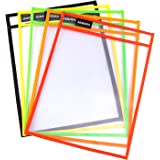 """Dry Erase Pockets 10 Pack - Reusable Oversized 10"""" x 13"""" - Clear Sheets Durable Plastic Sleeves Teacher and Kids School Suppl"""