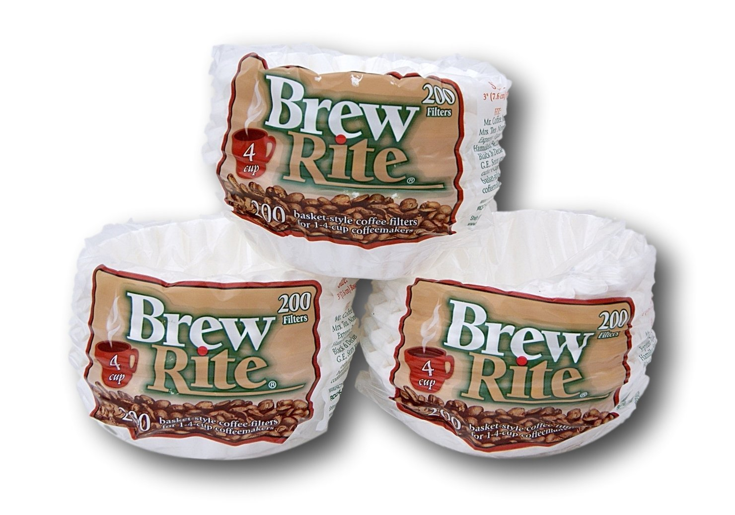 Brew Rite 4 Cup Coffee Basket Disposable Filters - 600 Ct