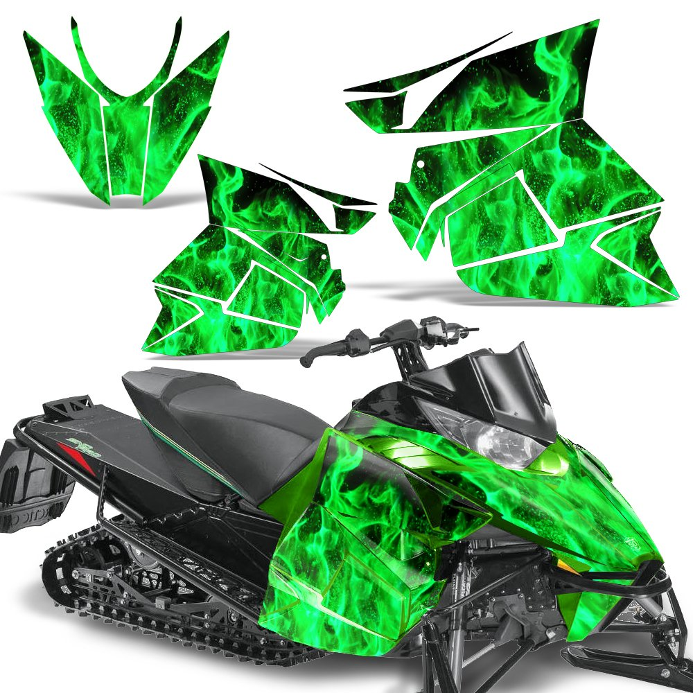 Arctic Cat Pro Climb Cross 2012-2013 Snowmobile Sled Decal Graphic Kit Sticker FLAMES GREEN Wholesale Decals