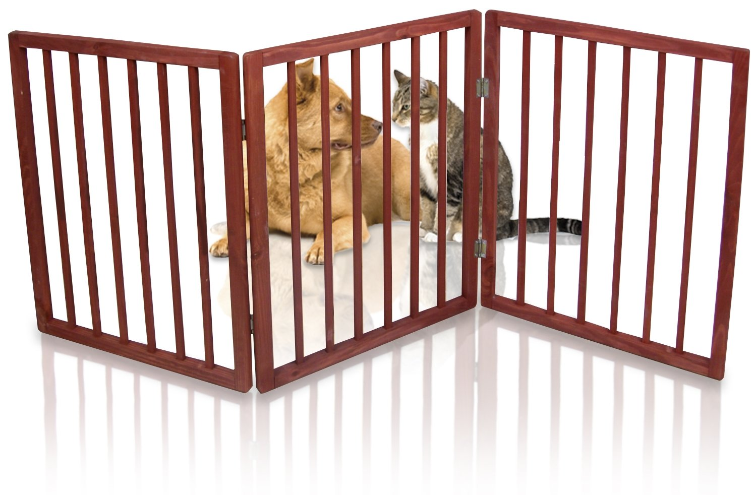 Kleeger Freestanding Folding Indoor Safety Wooden Pet Gate For Home Or Office