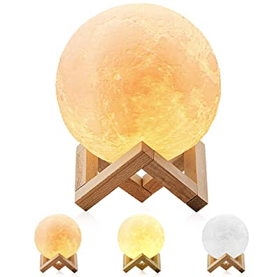 3D Printing Moon Lamp Christmas Decorations for Home Luminaria USB Touch Lamp Night Light Led Bedside lamp Brightness Two Color Change Bedside Lamps (10cm): Home Improvement