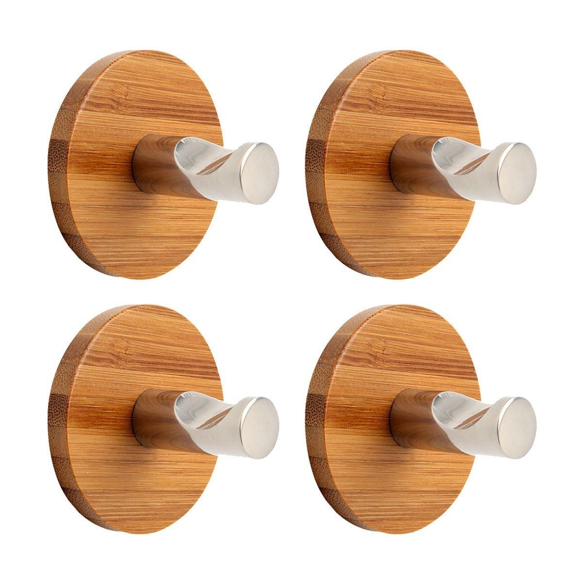 MOMO SZ Stainless Steel Adhesive Hooks Heavy Duty Hooks for Home Kitchen Bath 4 pcs Bamboo Hooks