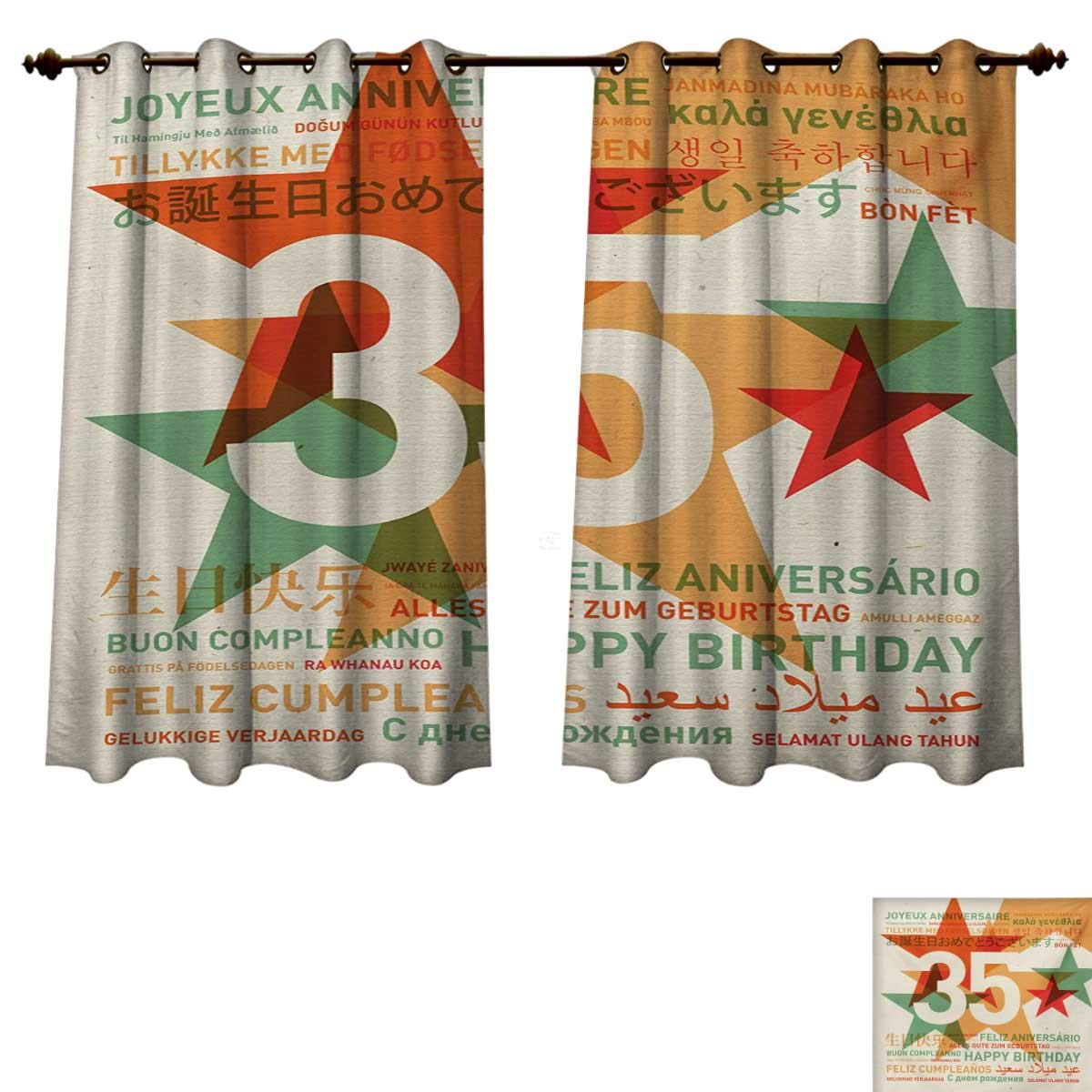 Amazon.com: 35th Birthday Blackout Thermal Backed Curtains ...
